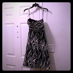 Reiss Strapless Elinor Dress Black and White